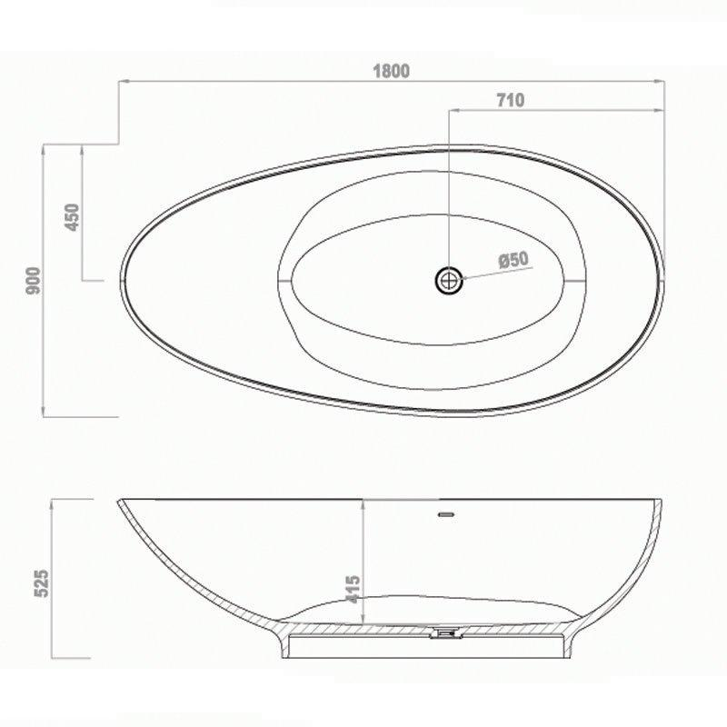 Solid Surface Bathtub BS-S20 1795
