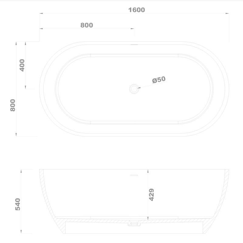 Solid Surface Bathtub BS-S17 1600